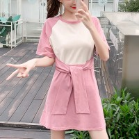 Girls Casual Slim Short Sleeves Cotton Dress - Pink