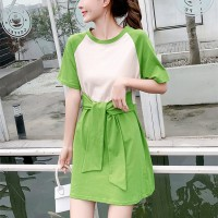 Girls Casual Slim Short Sleeves Cotton Dress - Green