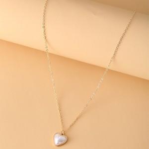 Rhinestone Heart Carved Women Fashion Necklace - Golden