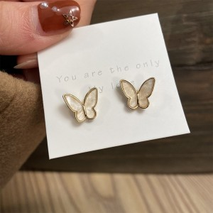 Carved Butterfly Pair Of Earrings - Golden