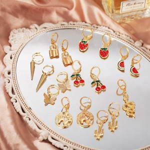 Eight Pairs Gold Plated Multi Design Earrings Set - Golden