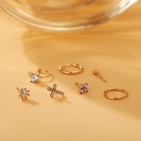 Crystal Patched Seven Pieces Ear Jewellery - Golden