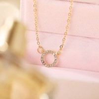 Crystal Gold Plated Women Party Wear Necklace - Golden