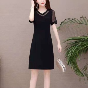 Girls Elegant Slim Short Dress - Black