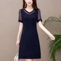 Girls Elegant Slim Short Dress - Navy Blue