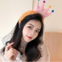 Cartoon Crown Fluffy Headband For Hair Wash Face Makeup Headband - Brown