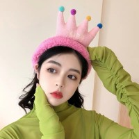 Cartoon Crown Fluffy Headband For Hair Wash Face Makeup Headband - Hot Pink