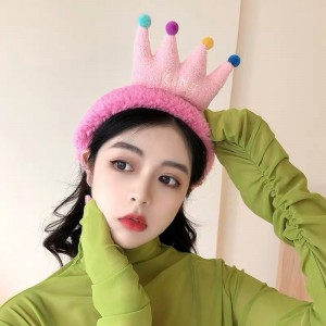 Cartoon Crown Fluffy Headband For Hair Wash Face Makeup Headband - Hot Pink
