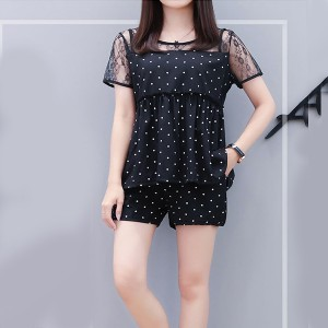 Girls Short Sleeves Polka Dot Lace Top Two Pieces Set - Black