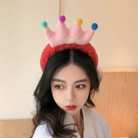 Cartoon Crown Fluffy Headband For Hair Wash Face Makeup Headband - Red