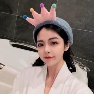Cartoon Crown Fluffy Headband For Hair Wash Face Makeup Headband - Gray