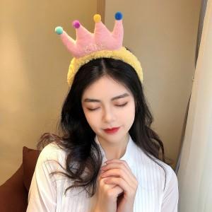 Cartoon Crown Fluffy Headband For Hair Wash Face Makeup Headband - Yellow