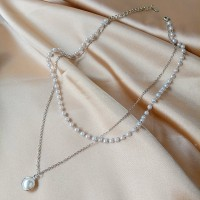 Pearl Decorative Silver Plated Two Layered Necklace - Silver