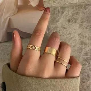 Gold Plated Three Pieces Crystal Carved Rings Set - Golden