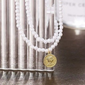 Decorative Pearl Silver Plated Two Layered Necklace - Golden
