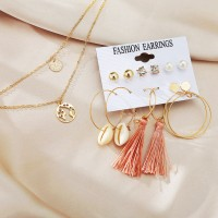 Crystal Patched Pearl Decorative Tassel Earrings Pair Set