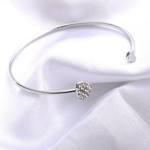 Decorative Heart Crystals Gold Plated Bracelet Bangle - Silver