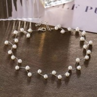 Pearl Decorative Party Wear Women Fashion Necklace - Silver
