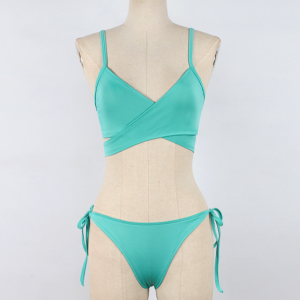 Knotted Panty Wrapped Bra Sexy Wear Lingerie Set - Green