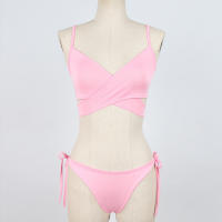 Knotted Panty Wrapped Bra Sexy Wear Lingerie Set - Pink
