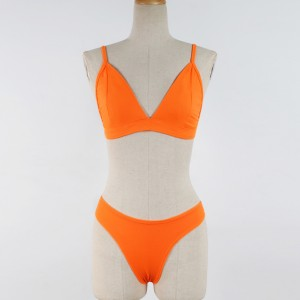 Solid Color Two Piece Sexy Wear Bikini Lingerie - Orange