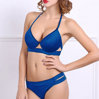 Solid Cut Out Knotted Bra Two Piece Lingerie Set - Blue
