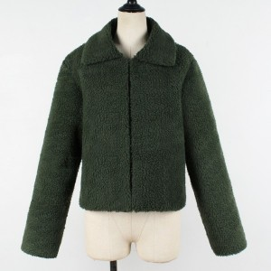 Zippper Closure Furry Women Fashion Jacket - Green