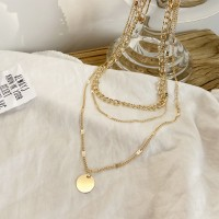 Three Layered Gold Plated Women Fashion Necklace - Golden