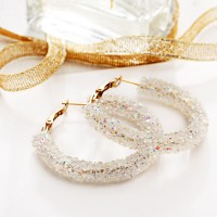 Crystal Patched Party Wear Gold Plated Earrings Pair