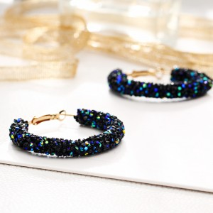 Crystal Patched Party Wear Gold Plated Earrings Pair - Blue