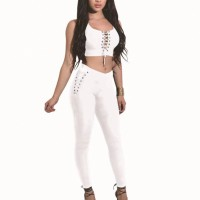 Bodyfitted Two Pieces Full Length Women Sexy Wear Suit - White