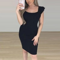 Bodyfitted Short Sleeves Solid Color Mini Dress - Black
