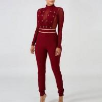Stand Neck Full Sleeves Drawstring Slim Fit Romper Dress - Red