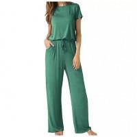 Short Sleeves Full Length Women Fashion Romper Dress - Green