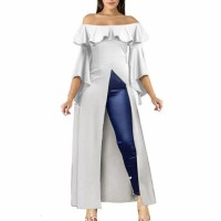Off Shoulder Cut Out Split Hem Maxi Dress - White