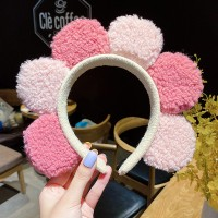 Women Cute Colorful Soft Floral Headband For Face Wash Makeup - Pink