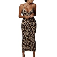 Leopard Printed Body Fitted Midi Dress - Multicolors