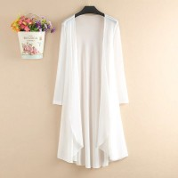 Chiffon Full Sleeves Thin Fabric Outwear Long Cardigan - White