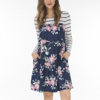Full Sleeves Floral Printed Mini Dress - Blue