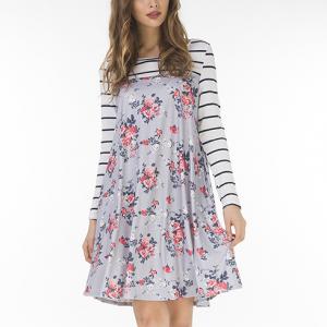 Full Sleeves Floral Printed Mini Dress - Gray