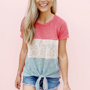 Colorful Patched Round Neck Short Sleeves T-Shirt - Pink