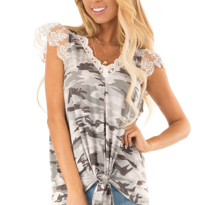 Camouflage Printed Lace Patch Women Fashion Blouse Top