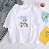 Loose Wear Flamingo Printed Round Neck T-Shirt - White