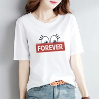 Alphabetic Printed Round Neck Short Sleeves T-Shirt