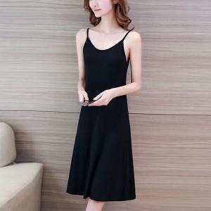 Summer Wear Spaghetti Strap Solid Color Midi Dress -  Black