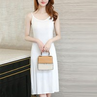Summer Wear Spaghetti Strap Solid Color Midi Dress -  White