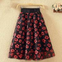 Floral Printed Pleated Elegant Wear Skirt - Red
