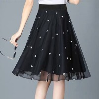 Double Layered Printed Chiffon Elegant Wear Skirt - Black