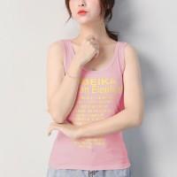 Alphabetic Printed Sleeveless Camisole Sando Top - Pink