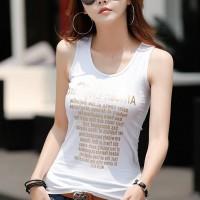 Alphabetic Printed Sleeveless Camisole Sando Top - White